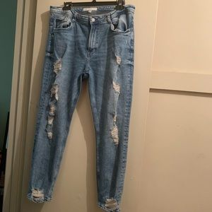 Zara Destructed Denim Pants